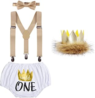 Baby Boys First 1st Birthday Cake Smash Outfit Wild ONE Diaper Cover + Suspenders + Bowtie + Headband for Photo Props