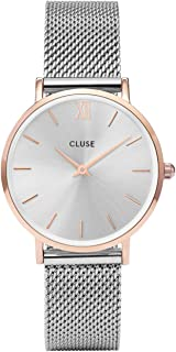 CLUSE Minuit Mesh Rose Gold Silver CL30025 Women's Watch 38mm Stainless Steel Strap Minimalistic Design Casual Dress Japanese Quartz Elegant Timepiece