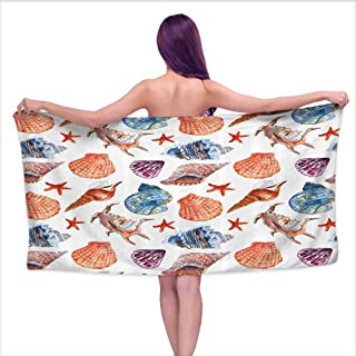 Aurauiora Soft Bath Towel Underwater,Marine Shells and Starfishes on Beach Seaside Summer Vacation Oceanic Collection,Multicolor,W10 xL39 for Youth Girls Cotton