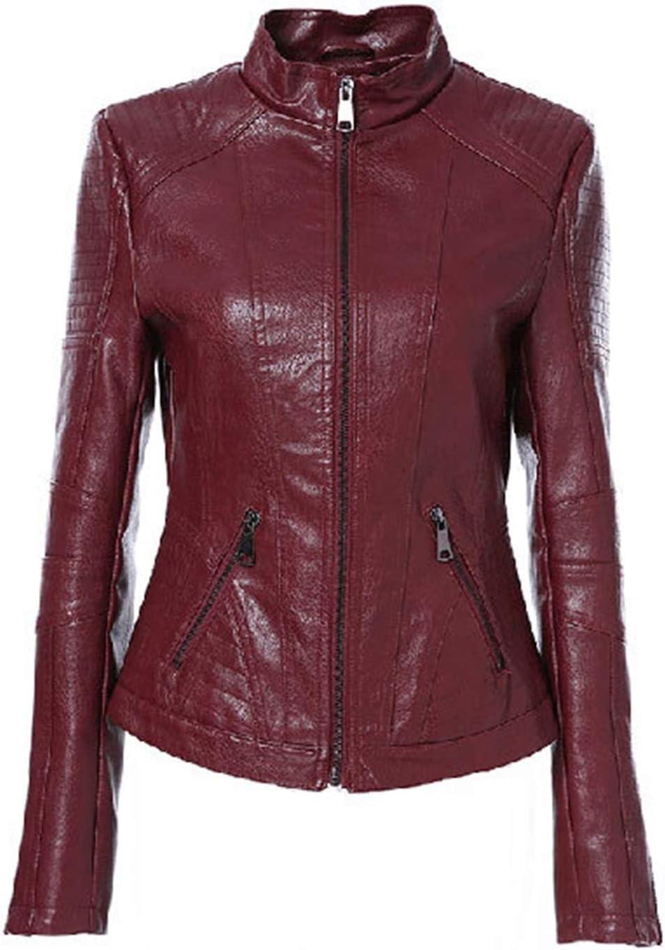 kengbi Jacket Women Leather Jacket Vintage Women's PU Leather Jacket Mandarin Collar Slim Female Black Faux Leather Outwear (Color : Red Wine, Size : M)