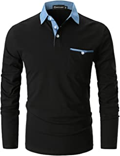 comprar comparacion GHYUGR Polo para Hombre Mangas Largas Denim Costura Camisas Algodón Slim Fit Camiseta Golf Poloshirt T-Shirt Oficina Botón...