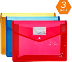 HC Eco-Friendly Plastic File Folders A4 Plastic File Wallet Poly & Oxford Expandable Envelope Folder with Snap Button Closure, Durable Waterproof Great for Office Home School - Red, Blue,Yellow