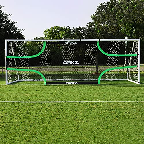 ORKZ Soccer Goal Target Net - 24 ft x 8 ft Scoring Training Equipment - Improve Kick Practice Shooting Targets, Portable Net with Carry Bag, Pegs and Bungee Cord Included