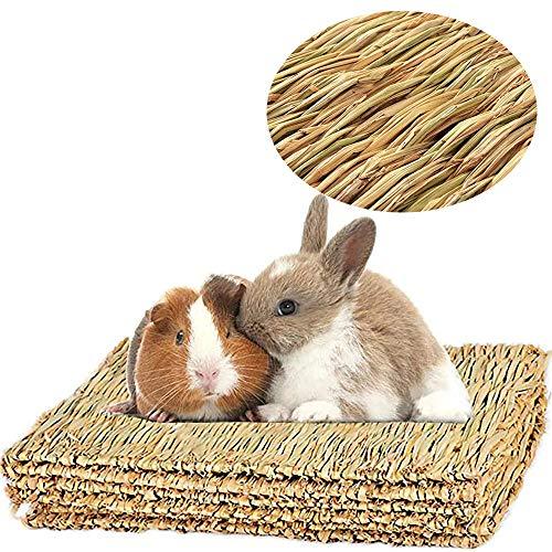 LINGNI 4 camas de juguete para masticar animales, tapete de hierba para conejo, tapete de cama tejido natural para cobayas, chinchilla, ardilla, hámster, gato, perro y animal pequeño