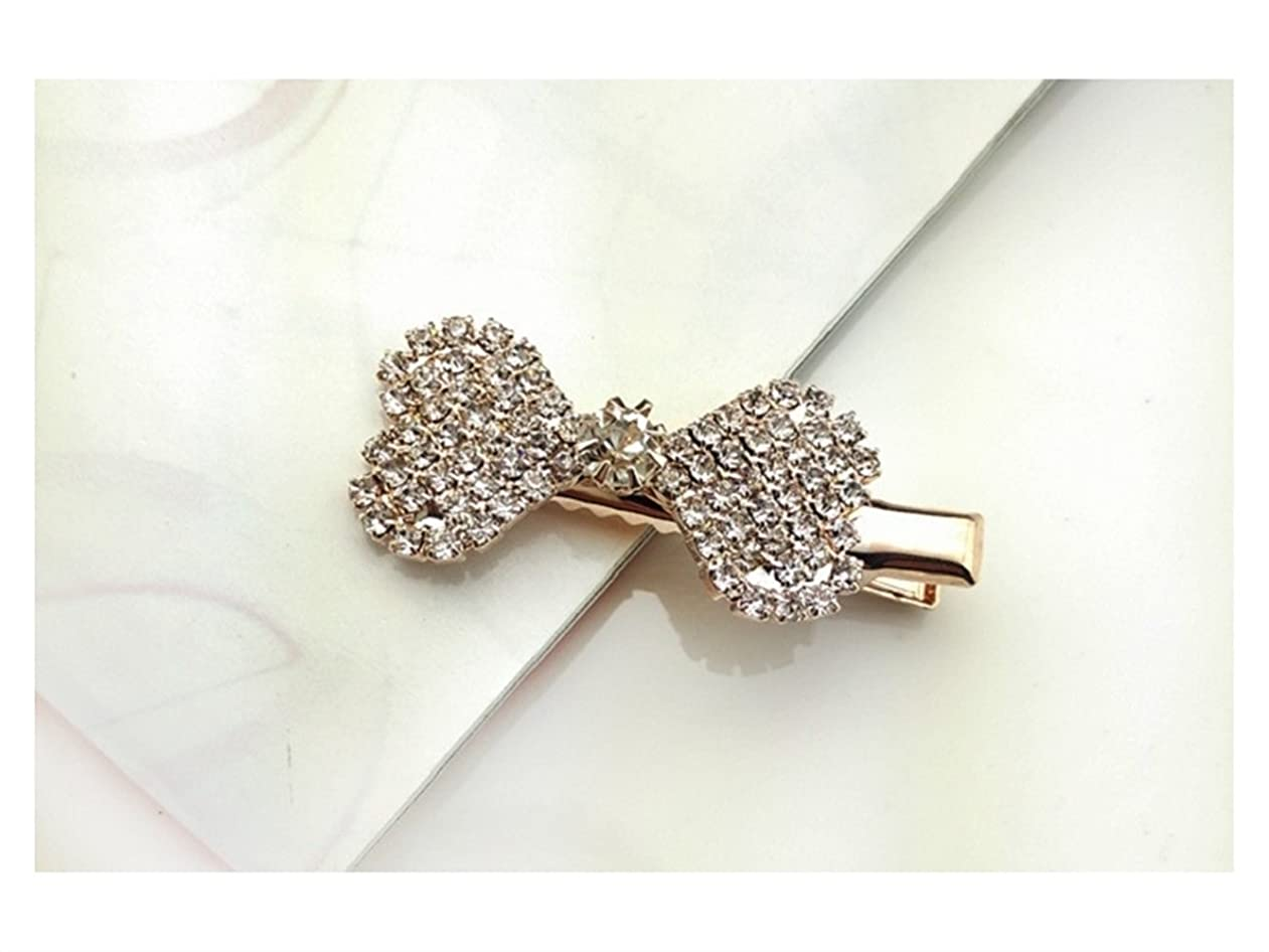 磁石感謝祭法的Osize 美しいスタイル 小さな弓のネクタイラインストーンヘアピンダックビルクリップブライダルヘッドジュエリー