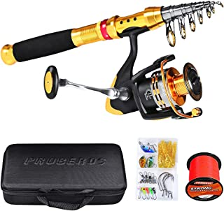 SKY-TOUCH Fishing Rod kit, Carbon Fiber Telescopic Fishing Pole and Reel Combo with Line Lures Tackle Hooks Reel Carrier B...