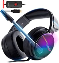 XIBERIA-V20 USB PS4 Headset for Host Connection, 7.1 Surround Sound PC Gaming Headset with 1.95 Meter Cable and Noise Canc...