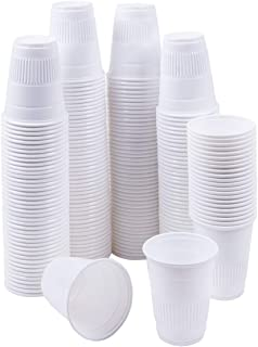 TashiBox 5 oz Disposable Plastic Cups - 200 Count - Drinking Cups, Bath Cups, Dental Cups. (White)