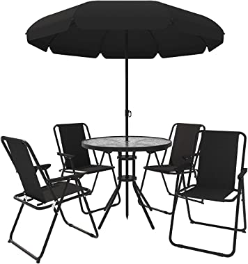 Cloud Mountain 6 Pieces Outdoor Patio Dining Set with Umbrella,4 Foldable Steel Chairs with Glass Table for Patio Garden Pool