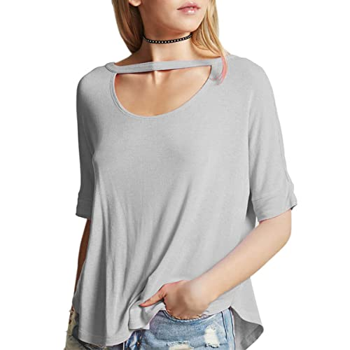 bf215d21bdb2 Fihapyli Women s Batwing Sleeve Choker O Neck Top Loose Fit Casual Shirts  Knit Stretchy T Shirts