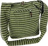 GURU SHOP Sadhu Bag Gestreift, Goa Tasche, Schulterbeutel - Lemon/olive, Herren/Damen, Grün, Baumwolle, Size:One Size, 40x35x25 cm, Alternative Umhängetasche, Handtasche aus Stoff