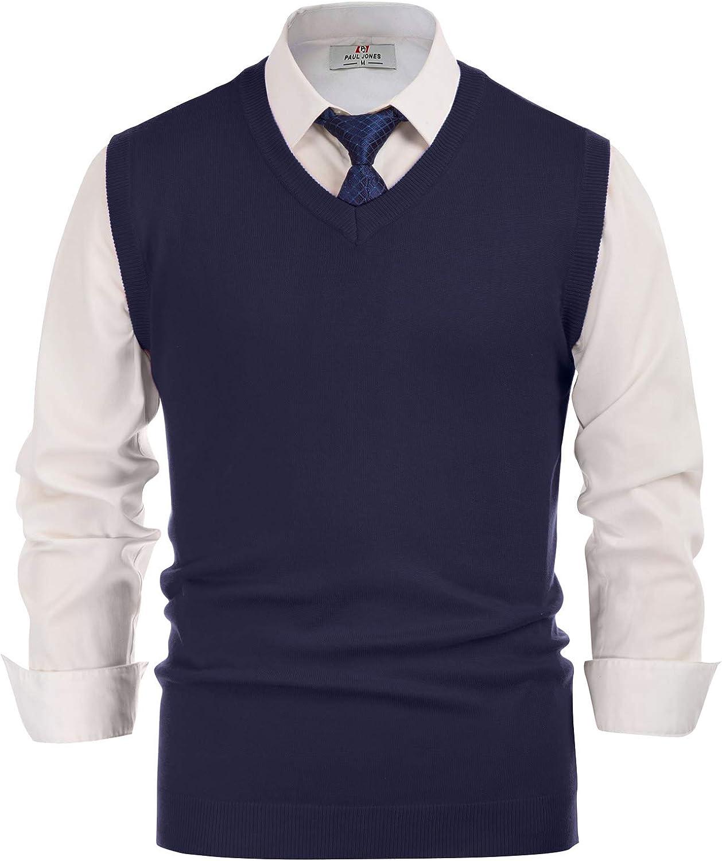 PJ PAUL JONES Mens V-Neck Knitted Sweater Vest Solid Plain Sleeveless Pullover Knitwear