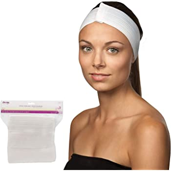 Dukal Stretch Headbands. Pack of 48 Disposable Headbands for Spa Treatments. Hook and Loop Closure. Elastic Spa Headbands. Soft Flexible Material. White color.