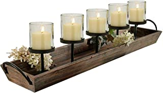 Westcharm 27.5 in. Rustic Wood Candle Centerpiece Tray w/Five Metal Candle Holders