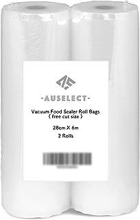 Vacuum Food Sealer Roll Bags 28CMx6M 2Pack AUSELECT Saver Seal Storage Heat Commercial Grade Bag Rolls for Food Saver
