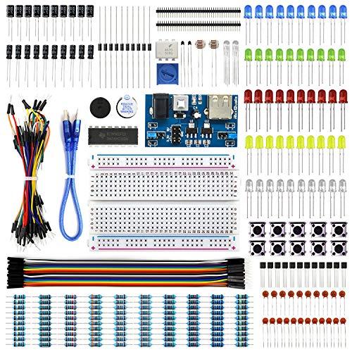 REXQualis Kit base elettronica con modulo di alimentazione, breadboard, cavo jumper, LED, resistenza compatibile con Arduino, Raspberry Pi, STM32