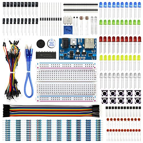 REXQualis Electronics Basic Kit w/Power Supply Module, Breadboard, Jumper Wire, LED,Resistor, comes with more than 300pcs sensors and components for fun and simple electronic projects.