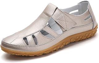 Z.SUO Sandales Femmes Plates Cuir Casuel Confort Mocassins Loafers Chaussures de Conduite La Mode Été Chaussures de Marche...