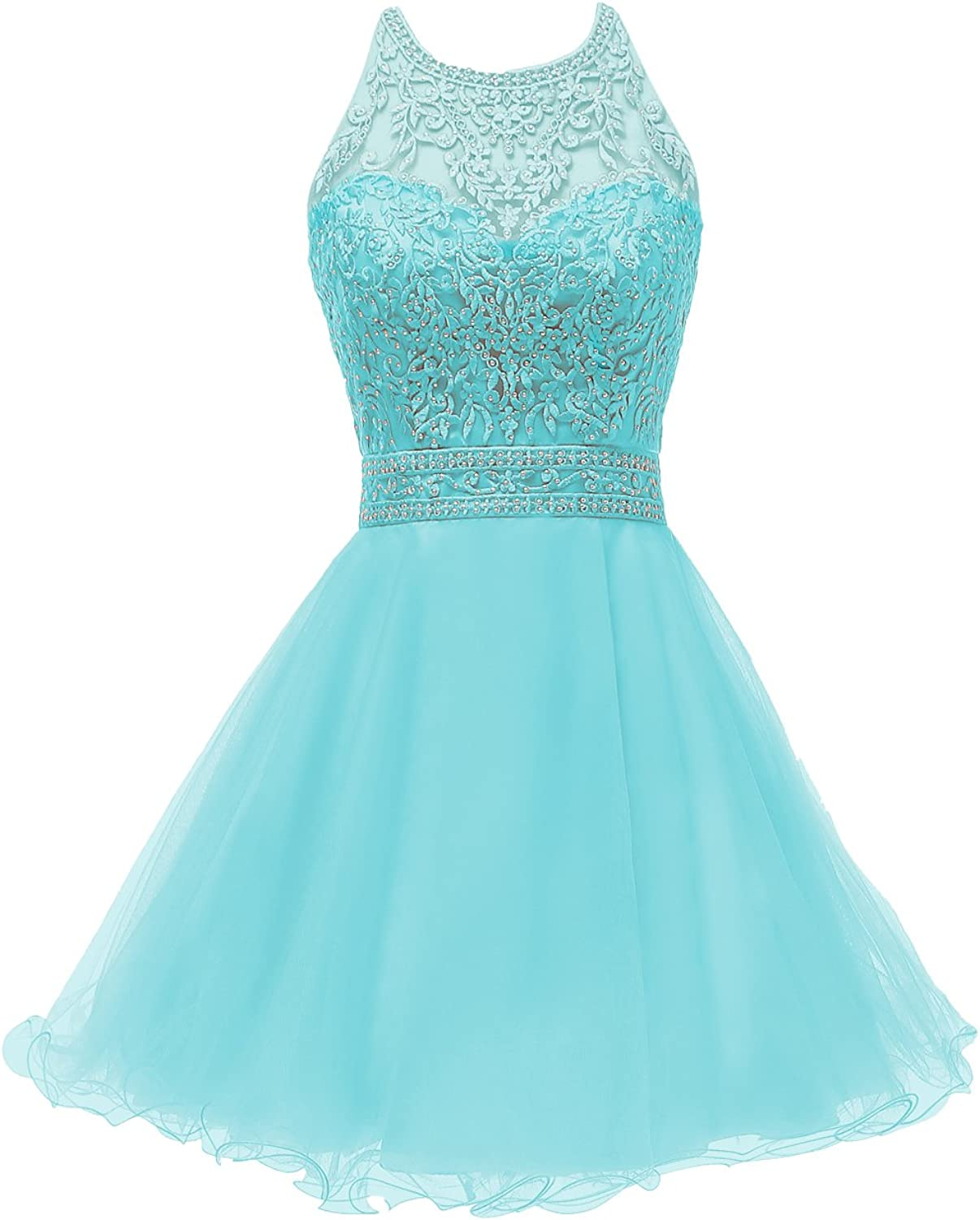 Huifany Women's Short Beaded Homecoming Dresses Tulle Applique Prom Cocktail