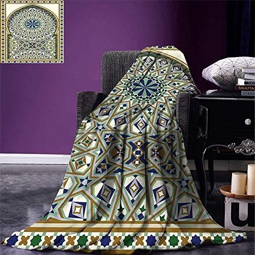 Cy-ril Manta de Tiro de patrón Turco Arco árabe y Marco con Detalles geométricos Estrellas y triángulos Manta de Microfibra cálida 100 x130 cm