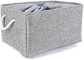 TheWarmHome Large Fabric Foldable Linen Storage Bins for Home,Grey (20.5×15.7×13.8 inch)
