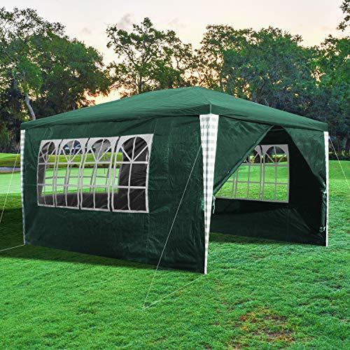 wolketon Gazebo Giardino Tenda Gazebo 3x4m Impermeabile con 4 Pareti Laterali, Verde, Robusto Gazebo per Feste, Campeggio, Spiaggia, Esterno