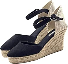 Women's Wedge Sandals Espadrille Waterproof Ethnic Style Strappy Studded Bohemian Canvas Closed Toe Roman Beach Sandal Ladies Casual Shoes