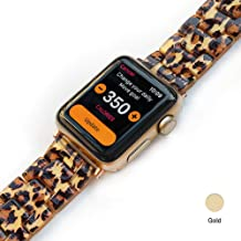 Light Apple Watch Band - Fashion Resin iWatch Band Bracelet Compatible with Copper Stainless Steel Buckle for Apple Watch Series 5 Series 4 Series 3 Series 2 Series1 (Leopard Print, 38mm/40mm)