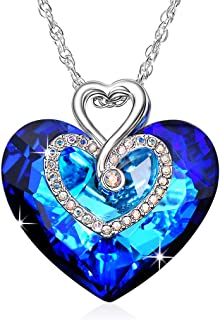 I Love You Forever Heart Pendant Necklace Made with Blue Swarovski Crystals Romantic Gift for Women