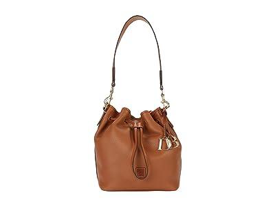 Dooney & Bourke Pebble II Drawstring (Caramel/Brandy Trim) Tote Handbags