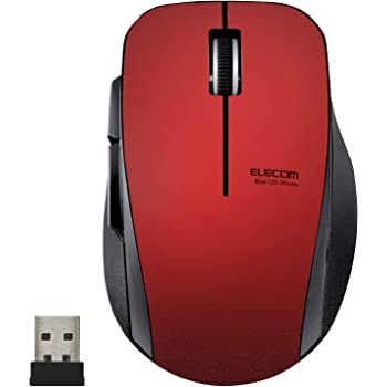 エレコム マウス ワイヤレス (レシーバー付属) Mサイズ 5ボタン (戻る・進むボタン搭載) 静音 レッド M-FBL01DBXSRD