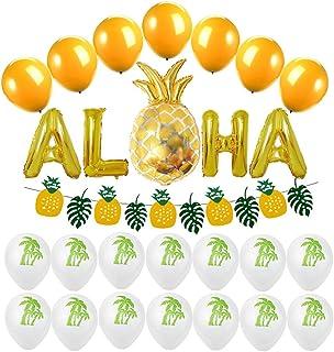 CACAZI Juego de globos de fiesta hawaianos decorativos con diseño de piña Aloha frase globos de aluminio Mylar