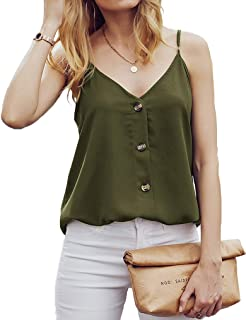 Qearal Women's Summer Button Down Tank Tops V Neck Strappy T-Shirt Loose Casual Chiffon Cami Shirts Sleeveless Blouses