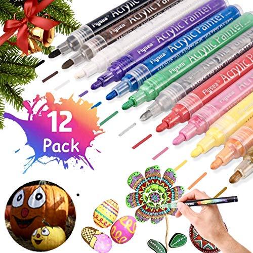kaimirui Pluma de acuarela Acrílico en 12 colores, marcadores de metal, marcadores de color permanentes, marcadores de acrílico, pintura de tela, pintura de piedra, metal, madera, vidrio