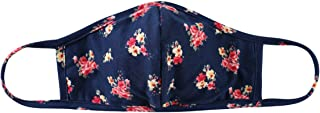Reusable Fabric Face Mask Covering with Filter Insert Pocket Unisex - Washable Breathable Print Cloth Mouth Shield Protection Comfy Men Women (Arched - Floral Rose Bouquet Navy)
