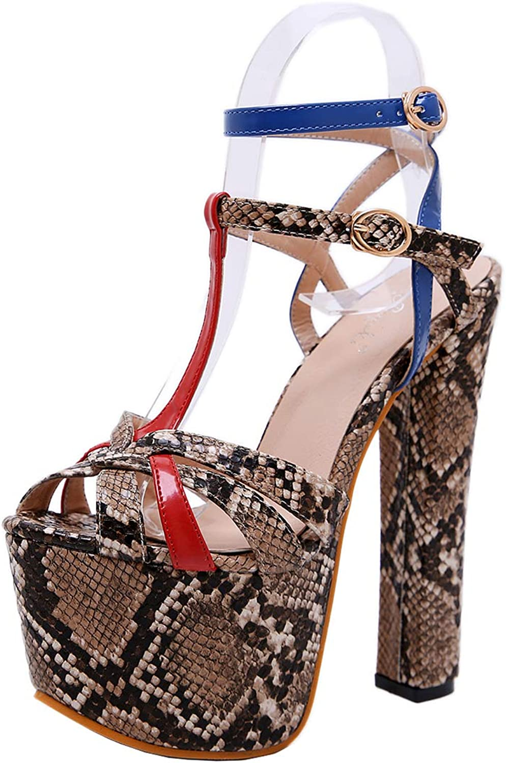 XDLEX Women's Sexy Gladiator Platform Gradient Sandals Snakeskin Patten Ankle Buckle Strap Peep Toe High Chunky Heels Pump Strappy Heightening shoes