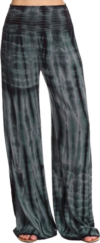 Nirovien Womens Casual Tie Dye Wide Leg Palazzo Lounge Pants Boho Hippie Baggy Print Trousers Pants