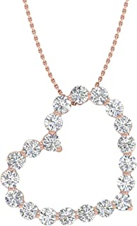 1/2 Carat Diamond Heart Pendant Necklace in 14K Gold (Silver Chain Included)