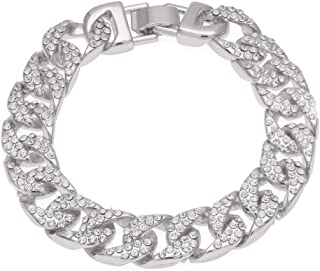 Fashionever Mens Womens Chain Hip hop Iced Out Curb Cuban Silver Gold Plated Bracelet with Clear Rhinestones 8.5 inch