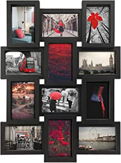 PETAFLOP 4x6 Picture Frames Collage 12 Openings Black Multi Frame 4 x 6, Wall Mounted Vertically or Horizontally