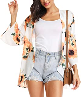 Women's Casual 3/4 Sleeve Floral Print Cardigan Capes Kimono Chiffon Loose Beach Cover up Summer
