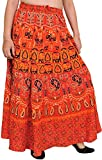 Exotic India Sanganeri Long Skirt with Printed Elephant - Color Poppy Red