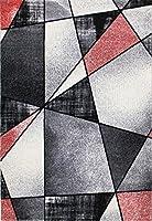 Ladole Rugs 美しいコンテンポラリー エンペラー 幾何学模様 エリアラグ リビングルーム ベッドルーム エントランス 廊下 カーペット レッド ブラック ホワイト 5x8 (5フィート3インチ x 7フィート6インチ 160cm x 230cm) 5x7 8x10 9x12 2x10 4x6フィート