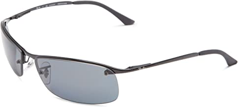 RAY-BAN RB3183 Rectangular Metal Sunglasses, Black/Polarized Grey Gradient, 63 mm