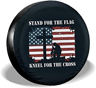 Stand for The Flag Kneel for The Cross Spare Tire Cover Waterproof Dust-Proof for Jeep, Trailer, RV, SUV, Truck Wheel