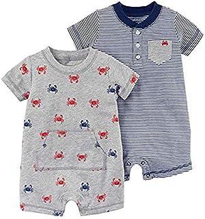 Carter's Baby Boy's 2 Pack Cotton Romper Creeper Set