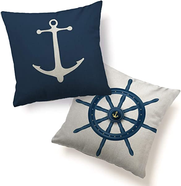 HUABEI Pillow Cover Cushion Case 2 Pack Home Decorative Print Anchor Helm Navy Nautical Throw Pillowcases Standard Size 18 X18 Square For Sofa Couch Chair Home D Cor Blue White