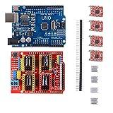 Kit de impresora 3D con CNC Shield V3.0 + UN O R 3 Board Con USB Cable+ 4pcs Controlador de motor de pasos A 4988 con disipador térmico para impresora 3D