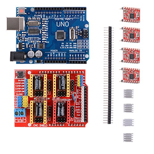 3D Printer Kit with CNC Shield V3.0 + UN O R 3 Board W/USB Cable + 4pcs A 4988 Stepper Motor Driver with Heatsink for 3D Printer