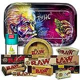 Einstein Plateau à rouler 27,5 cm x 17,5 cm + Cendrier RAW + Pot anti-odeur THE BOAT + Machine à rouler 79 mm + Papier Raw 1 1/4 Organic, Black et Classic + Tips Maestro, Organique et Classic.